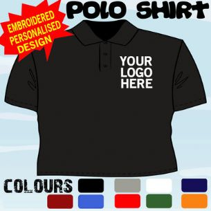 WORKWEAR BUSINESS COMPANY T POLO SHIRT EMBROIDERED FULL COLOUR LOGO X50 TOPS